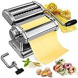Nudelmaschine Manuelle Soldow Pasta Maker Edelstahl Nudelmaschine mit 2 Verschiedenen Nudelwalzen für Frische Spaghetti Nudeln Lasagne, Pastamaschine Einfache Reinigung und Verwendung mit Klemme