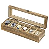 SRIWATANA Uhrenbox 6 Uhren Organizer Uhrenkasten Holz mit Glasfenster Vintage Design Geburtstag Geschenk für Herrn Dame Freund Freundin, Braun