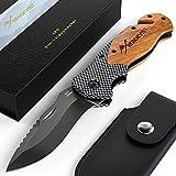 BERGKVIST® 3-in-1 Taschenmesser K20 Zweihand-Messer darf geführt Werden I scharfes Klappmesser I Survival Knife & Outdoor-Messer mit Holzgriff inkl. Schleifstein & Gürteltasche