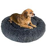 Granbest Luxus Plüsch Hundebett Katzenbett Rund Hundekissen Super Weich Doughnut-Form Haustierbett für kleine mittelgroße Hunde Kunstpelz Haustierbett Maschinenwaschbar (60cm, Grau)