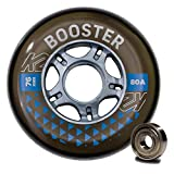 K2 Skates Unisex– Erwachsene Rollen mit Kugellager Booster 76MM 80A 8-Wheel Pack W ILQ 5 — Black — 76mm — 30F3006