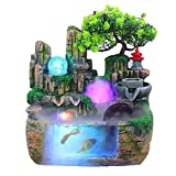 LOVOICE Zimmerbrunnen Wasserfall,Indoor & Outdoor Use Waterfall, Desktop and Tabletop Fountain, Decoration, Water Feature with Colour Changing LED Lighting, Zen Meditation Waterfall