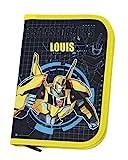 Federmappe mit Namen | Motiv Transformers inkl. NAMENSDRUCK | Personalisieren & Bedrucken | für Jungen in dunkelblau & gelb Federmäppchen Schüleretui Federtasche 30-teiliges Set
