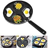Omelettpfanne, NALCY 24 cm 4-Loch-Pfannkuchenpfanne, runde Omelettpfanne mit Antihaftbeschichtung, Bratpfanne, Brotpfanne (schwarz)