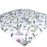 Tischdecke Lavendel & Herzen, weiß, 80x80 cm, Mitteldecke für Frühling und Sommer