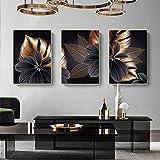 Leinwand Poster Bilder Set 3Stück Schwarz Golden Pflanzenblatt Bild Wohnzimmer Schlafzimmer Vintage Leinwandbilder ,für Deko Schlafzimmer Küche Modern Wandbild mit Poster Kunstdrucke (50X70 cm)