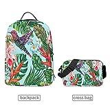 QMIN Rucksack Palmblätter Kolibri Blume abnehmbar Schule Büchertasche Reise College Daypack Reißverschluss Riemen Tasche Organizer für Jungen Mädchen Damen Herren