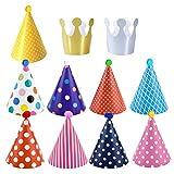 Dokpav Geburtstag Dekoration Set, 11 Stück Partyhüte zum Geburtstag mit Pompons,Partyhüte Party Kegel Hüte, Kuchen Geburtstagsfeier Kegel Hüte, für Kindergeburtstag deko