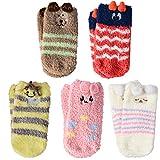 VBIGER 5 Paar Baby Socken Antirutschsocken Stoppersocken Warme ABS-Krabbelsöckchen Fleece Socken für Kleinkind Mädchen und Jungen 0-3 Jahren