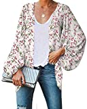 Damen-Kimono-Cardigan mit Blumenmuster, Ballonärmel, vorne offen, Chiffon, Apricot S