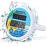 Bearbro Solarbetriebenes Pool Digitales Thermometer, Digitales Poolthermometer Solarbetriebenes Schwimmendes Thermometer Mit Max und Min Temperaturfunktion für Schwimmbäder Spas und Whirlpools
