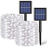2 Stück je 20 m 200 LED Solar Lichterkette Außen Wasserdicht Silberdraht Weiß Solar Lichterkette 8 Modi Solar Weihnachtsbeleuchtung für Party Garten Hof Terrasse Baum Hochzeit Urlaub Dekoration