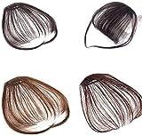 KANGSHENG Clip in Hair Bangs Fransen Beauty Girls Einteilige Haarverlängerungen Zwei Seiten langes Synthetisches Haarteil Natürliches glattes Haarteil mit Schläfen Aussehen wie menschliches Haar