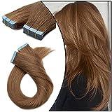 Tape in Extensions Echthaar Full Head 40 Stücke 12 Zoll(30cm) 80g Kleber Remy Haarverlängerung Glatt Human Hair #06 Hellbraun