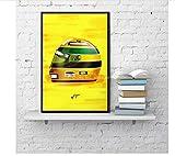 koushuiwa Ungerahmter Formel-1-Rennwagen Ayrton Senna Helme Legendäres Dekor Wandkunst Gemälde Poster Leinwanddrucke Wandbilder 50X70Cm F1944