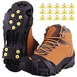 Fesoar Schuhspikes,Schuhkrallen Steigeisen für Schuhe im Winter mit einem 15er-Pack Ersatz-Schneespikes für Damen,Herren und Kinder (Schwarz, M)