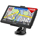 Jimwey Navigationsgerät für Auto Navigation LKW Navi 7 Zoll 16GB Lebenslang Kostenloses Kartenupdate mit Blitzerwarnung POI Sprachführung Fahrspurassistent 2020 Europa UK 52 Karten