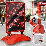 Jago® Kundenstopper DIN A1 Mobil - Alu Rahmen und 2 Folien Doppelseitig, mit Wasser befüllbar, in Rot - Plakatständer, Gehwegaufsteller, Werbeaufsteller