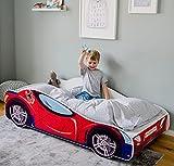 Autobett 140x70 Spielbett Kinderbett mit Lattenrost 70 x 140 Bett Kinder Rennfahrer Spider