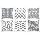 Alishomtll 6er Set Dekorative Kissenbezug Outdoor Wurf Zierkissenhülle Geometrie Muster Kissenhülle für Sofa Zimmer Polyester, 50 x 50 cm Grau