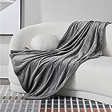 BEDSURE Kuscheldecke Sofa Decken grau - XL Fleecedecke für...