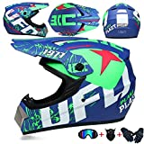 MCRUI Cross Helm Motorradhelm Motocross Helme Handschuhe Maskenbrille (4Er-Set) Enduro Motorradhelm Kinderhelm Sportsicherheit,02,M