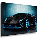 Lamborghini Blau Neon Leinwandbild / LaraArt Bilder / Leinwand Bild + Mehrfarbig + Kunstdruck XXL a17-4 Wandbild 80 x 60 cm