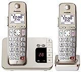 Panasonic KX-TGE262GN Schnurlostelefon mit Anrufbeantworter (Bis zu 1.000 Telefonnummern sperren, übersichtliche Schriftgröße mit starkem Kontrast , extra lauter Hörer, Voll-Duplex Freisprechen)
