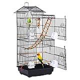 Yaheetech Vogelkäfig mit Vogelspielzeuge Käfigspielzeug Wellensittichkäfig Nymphensittiche Fink-Papageien-Käfig mit Vogeltreppe