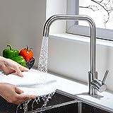 Umi. by Amazon - 360° drehbar Spültisch Armatur mit 2 Strahlarten Küche Wasserhahn Spüle Einhebel Mischbatterie Küchenarmatur