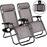Superworth Liegestuhl Klappbar 2er Set Belastbar, Sonnenliege Gartenliege mit Getränkehalter Kopfkissen, zusammenklappbare Stühle für Strand, Garten, Camping, Outdoor/Grau