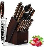 HOBO Messerblockset, 15-teiliges Küchenmesserset,...