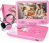 DBPOWER 10,5'' Tragbarer DVD Player mit 270° Schwenkbaren Bildschirm 5 Stunden wiederaufladbare Batterie Kinder CD Player Unterstützt SD/USB/AV Out/IN (Rosa)