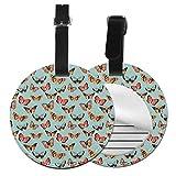 Personalisierbares Leder-Kofferanhänger-Set mit Schmetterlingsmotte, Reisezubehör, runde Gepäckanhänger Schwarz Schwarz 2 PCS