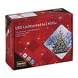Idena 31123 - LED Lichterkette mit 400 LED in warmweiß, mit 8 Stunden Timer Funktion und Transformator, ca. 47,9 m lang, Innen- und Außenbereich, als Deko für Partys, Weihnachten, Hochzeit