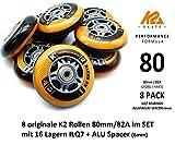 K2 Performance Formula Skate Rollen 8 STÜCK 80mm/82A + ILQ7 + ALU Spacer (SET-3053010.1.1.80mm)