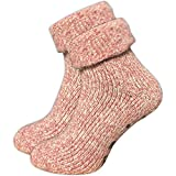 GAWILO 1 Paar Damen Stoppersocken – ABS Socken – Wollsocken – ohne drückende Naht – kuschelige Innenfrottee – ideal bei kalten Füßen (35-38, rosa melange)