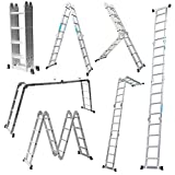 LARS360 4.7M Leiter Mehrzweckleiter Klappleiter Gelenkleiter mit Plattform 4x4 Sprossen Aluleiter Multifunktionsleiter Kombileiter 6 in 1 Anlegeleiter Stehleiter aus hochwertigem Alu belastbar
