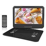 WONNIE Tragbarer DVD-Player (39,4 cm (15,5 Zoll) mit 270 Grad drehbarem Bildschirm, eingebauter 6 Stunden wiederaufladbarer Akku, Stereo-Sound, Regionenfrei, unterstützt USB/SD/AV Out & IN)