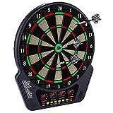 Elektronische Dartscheibe Dardboard mit 4 LCD-Anzeige, 6 Dartpfeilen  27 Spiele mit 243 Spieloptionen Profi Elektronik Dartspiel E Dartautomat (SchwarzeUpgrade)