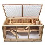 Julido Maxi Hamsterkäfig Kleintierkäfig Kleintierstall Holzkäfig Nagerstall Mäusekäfig Rattenkäfig aus Holz mit 3 Etagen