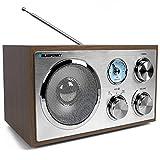 Blaupunkt RXN 180, Küchenradio Retro mit Bluetooth, einfaches Radio mit UKW/FM und Aux In, Retroradio mit Antenne, Büro-Radio, Analog Tuner, Kofferradio, Holzgehäuse, eingebauter Lautsprecher, Holz