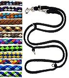 elropet Hundeleine Doppelleine Übungsleine Führleine für mittlere Hunde bis 45 Kg über 39 Farben sehr stabil (3,50 m, Schwarz)