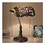 ZWH-Tischlampe Retro klassische Bank Lampe Libelle Buntglas-Tischlampe Tiffany Stilvolle Wohnzimmer Schlafzimmer Nachttischlampe