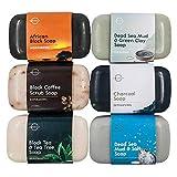 O Naturals 6 Stück Festes Duschgel Naturkosmetic Dusch Seife Vegan Schwarze Seife mit Ätherisches Öl für Hände Gesicht und Körper Hydratiert die Haut Hautbehandlung Tief Männer und Frauen 678g