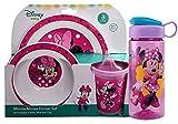 Minnie Mouse Geschirr-Set für Kinder, Teller, Schüssel, Schnabeltasse und Wasserflasche, BPA-frei