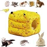LeerKing Kleintierebett Hamster Höhle Hängematte Hamsterkäfige Kleintierehaus Quadratische Hütte Winter mit Haken für Kleintiere wie kleine Ratte Chinchillas Totoro Hamster Mäuse Nager