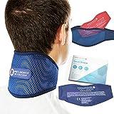 Sports Laboratory Nackenbandage bei Genickschmerzen PRO+ Integrierte Kompresse für Wärme & Kältetherapie, Verstellbare Nackenstütze, Gratis Nackenschmerzen, Ratgeber (Regular (11-17 inch))