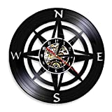 LKJHGU Wanduhr, Windrose Kompass, modernes Design, marineblau, Heimdekoration, Vinyl-Schallplatten-Wanduhr, nautische Kompass-Uhr