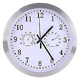 cjcaijun Wanduhr Funkuhr Wanduhr Stille 30cm Funkuhr Moderne Bürouhr Radio Metal Wanduhr mit Thermometer und Hygrometer for Home Office-Dekoration-Geschenk Uhr